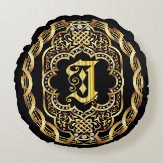 Monogram J IMPORTANT Read About Design Round Pillow