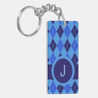 Monogram J initial letter personalized blue argyle Double-Sided Rectangular Acrylic Keychain