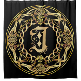 Monogram J Shower Curt Customize Change Back Color Shower Curtain