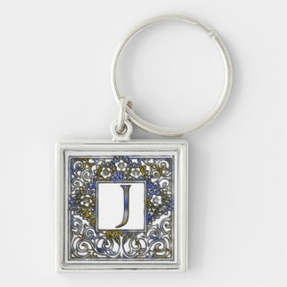 Monogram J Silver-Colored Square Keychain