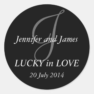Monogram J Stickers for Weddings Black