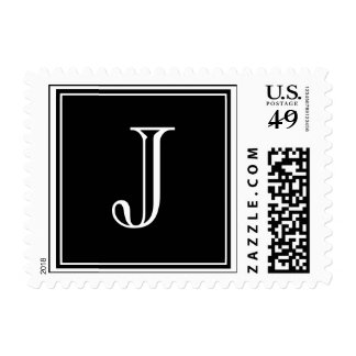 Monogram J Wedding Postage Stamps Black