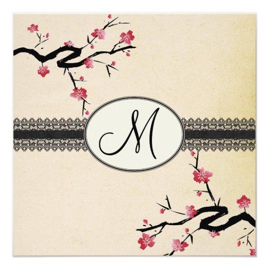 Monogram Japanese Cherry Blossom Wedding Invitation Zazzle Com