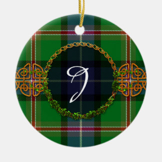 Monogram Jones Tartan Double-Sided Ceramic Round Christmas Ornament