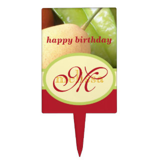 Monogram Juicy Natural Delicious Ripe Fresh Fruits Cake Topper