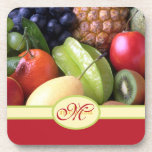 Monogram Juicy Natural Delicious Ripe Fresh Fruits Drink Coasters