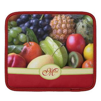 Monogram Juicy Natural Delicious Ripe Fresh Fruits iPad Sleeve