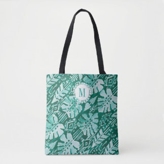 Monogram JUNGLE IKAT Hawaiian Green Tropical Tote Bag