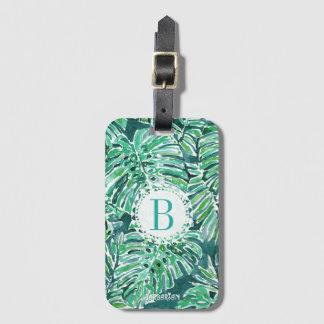 Monogram JUNGLE VIBES Green Tropical Monstera Bag Tag