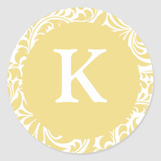 Monogram K Antique Gold Personalizable Invitation Classic Round Sticker