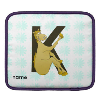 Monogram K Cartoon Pony Personalised Sleeve For iPads