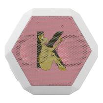 Monogram K Cartoon Pony Personalised White Bluetooth Speaker