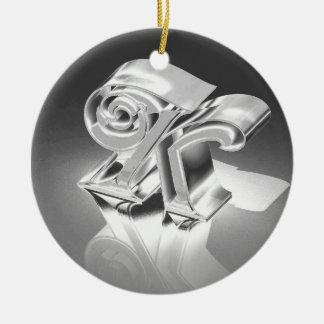 Monogram K Ceramic Ornament