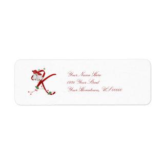Monogram K Christmas Bells Label