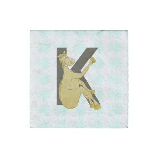 Monogram K Flexible Horse Personalised Stone Magnet