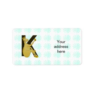 Monogram K Flexible Horse Personalised Label