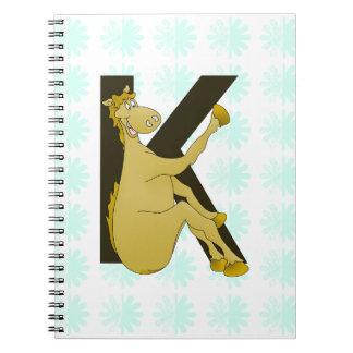 Monogram K Flexible Horse Personalised Spiral Notebooks