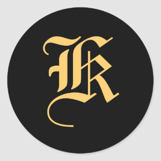 "Monogram ""K"" Gold-Color on Black Classic Round Sticker"