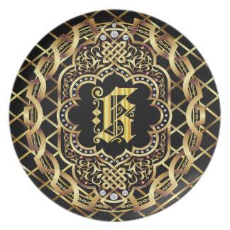 Monogram K IMPORTANT Read About Design Dinner Plate