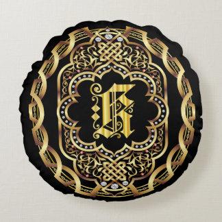 Monogram K IMPORTANT Read About Design Round Pillow