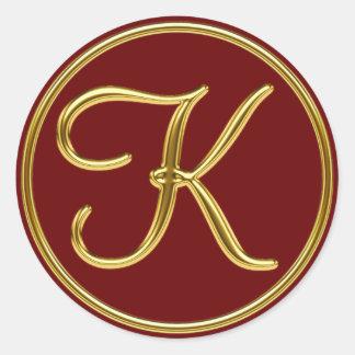 Monogram K in 3D gold Classic Round Sticker