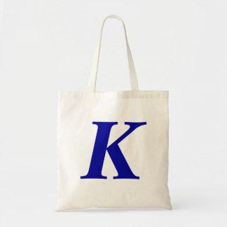Monogram K in blue custom initial tote bag