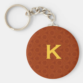 Monogram K Orange and Gold 3 D Effect C307 Keychain