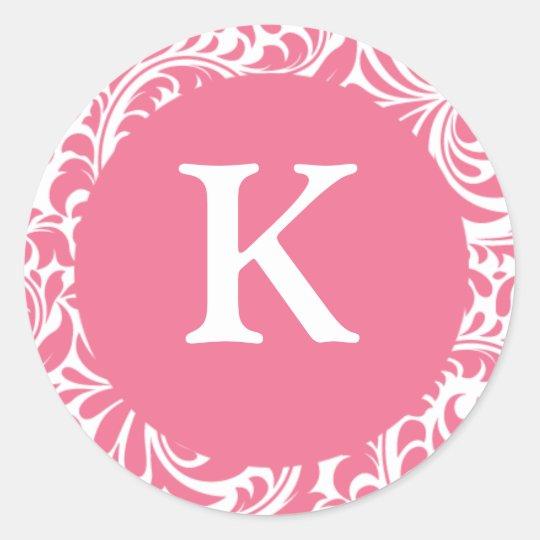 Monogram K Pink White Wedding Theme Monograms Invi Classic Round Sticker