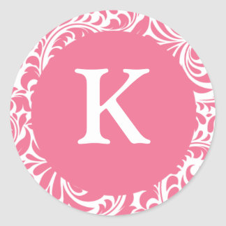 Monogram K Pink White Wedding Theme Monograms Invi Stickers