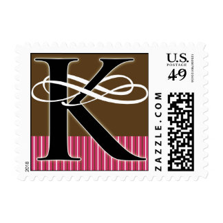 Monogram K Postage -- Pick Your Own Color!