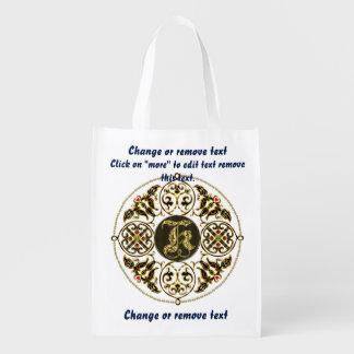 Monogram K Shopping Bag Reusable Reusable Grocery Bag