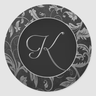 Monogram K Silver and Black Damask Wedding Seal Sticker