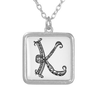 Monogram K Square  Necklace