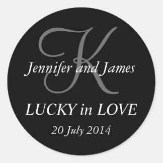 Monogram K Stickers for Weddings Black