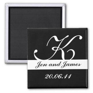 Monogram K Wedding Black & White Save the Date Magnets