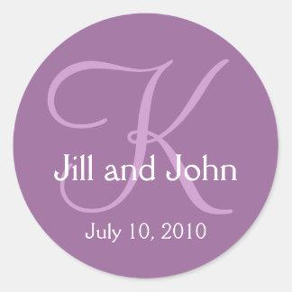 Monogram K Wedding Bride Groom Date Purple Sticker