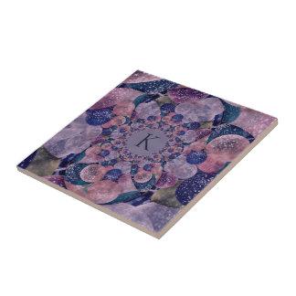 Monogram Kaleidoscope Purple And Pink Balloons Tile