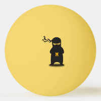 Monogram. Kawaii Cute Ninja for Nerd Geek. Ping Pong Ball