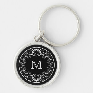 Monogram Keychain Elegant Floral Black and White