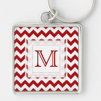 Monogram Keychain: Red Chevron Pattern Silver-Colored Square Keychain