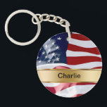 """Monogram Keychain Two Sided<br><div class=""""desc"""">Monogram keychains with names with patriotic American flag pattern designed for men or women,  boys or girls but works especially well for war veterans. A fun two side acrylic design that lets you carry your car keys or house keys in style and makes a great party favor.</div>"""