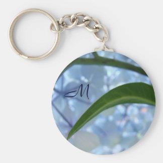 Monogram keychains Blue Floral Hydrangeas Flower
