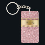 "Monogram Keychains Two Side<br><div class=""desc"">Monogram keychain with pretty printed gold monogram emblem you can personalize with any name, initials, or message and pink diamond jewel bling, along with printed pink glitter background you can use as a gift or party favor. Designed as keychains for women or keychains for girls, in a fun two side...</div>"