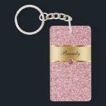"Monogram Keychains Two Side<br><div class=""desc"">Monogram keychain with pretty printed gold monogram emblem you can personalize with any name, initials, or message and printed pink diamond jewel bling, along with printed pink glitter background you can use as a gift or party favor. Designed as keychains for women or keychains for girls, in a fun two...</div>"