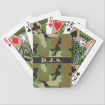 "Monogram Khaki, Black, Brown Camo Playing Cards<br><div class=""desc"">Give your battle-weary soldier a special personalized gift that will help him or her pass the time during the off hours. This monogrammed deck of Bicycle Brand playing cards in shades of khaki green, black, and brown camouflage pattern has a spot to add a name, monogram, logo, initials, or other...</div>"