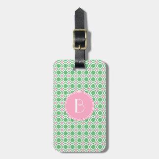 Monogram Kids Pink Green Luggage Tag