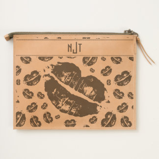 Monogram Kisses Scattered All Over Print Travel Pouch