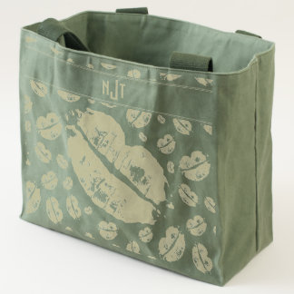 Monogram Kisses Scattered Pattern Collage Tote