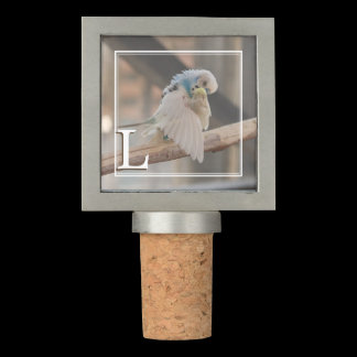 Monogram Kissing Love Birds Photo Personalized Wine Stopper