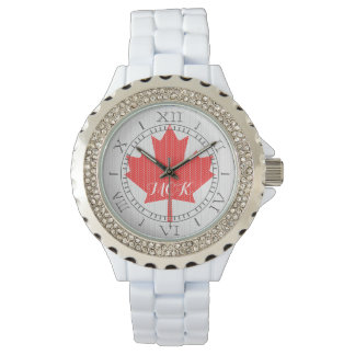 Monogram Knit Style Maple Leaf Knitting Motif Watch